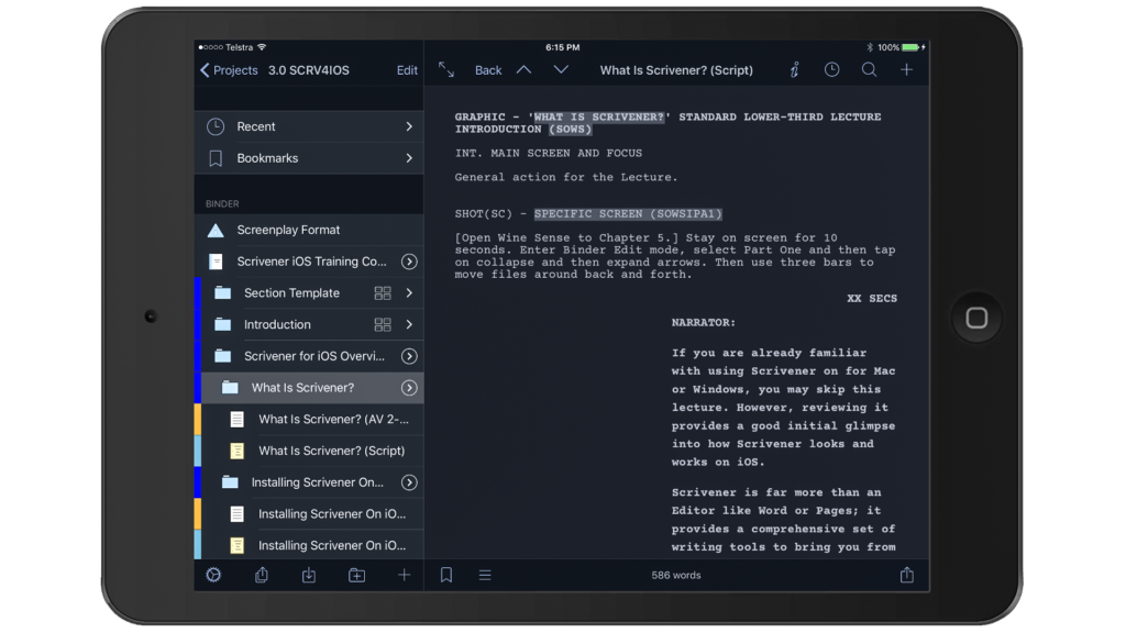 Scrivener for iOS 1.1 Dark Mode