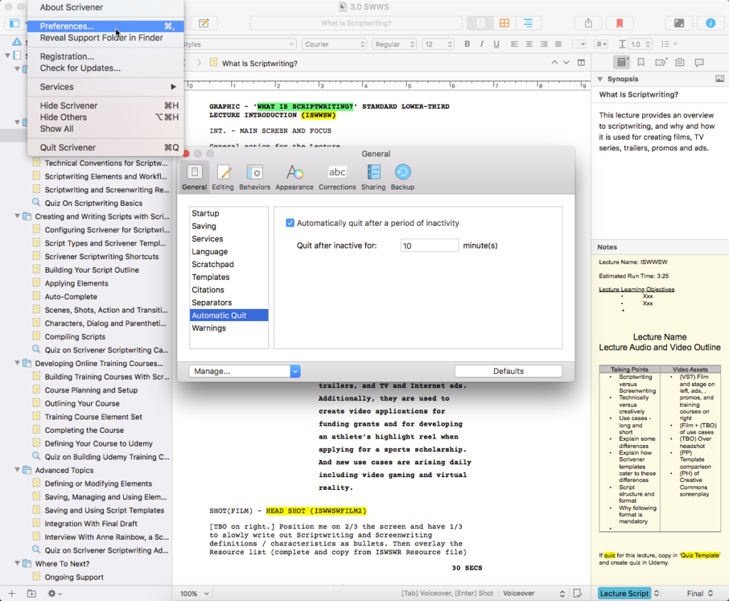 Scrivener 3.0 Automatic Quit feature